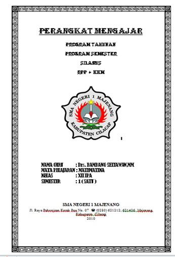 Rpp Promes Dan Prota Xii Ipa Sma Forum Komunikasi Matematika Sma Jawa Tengah